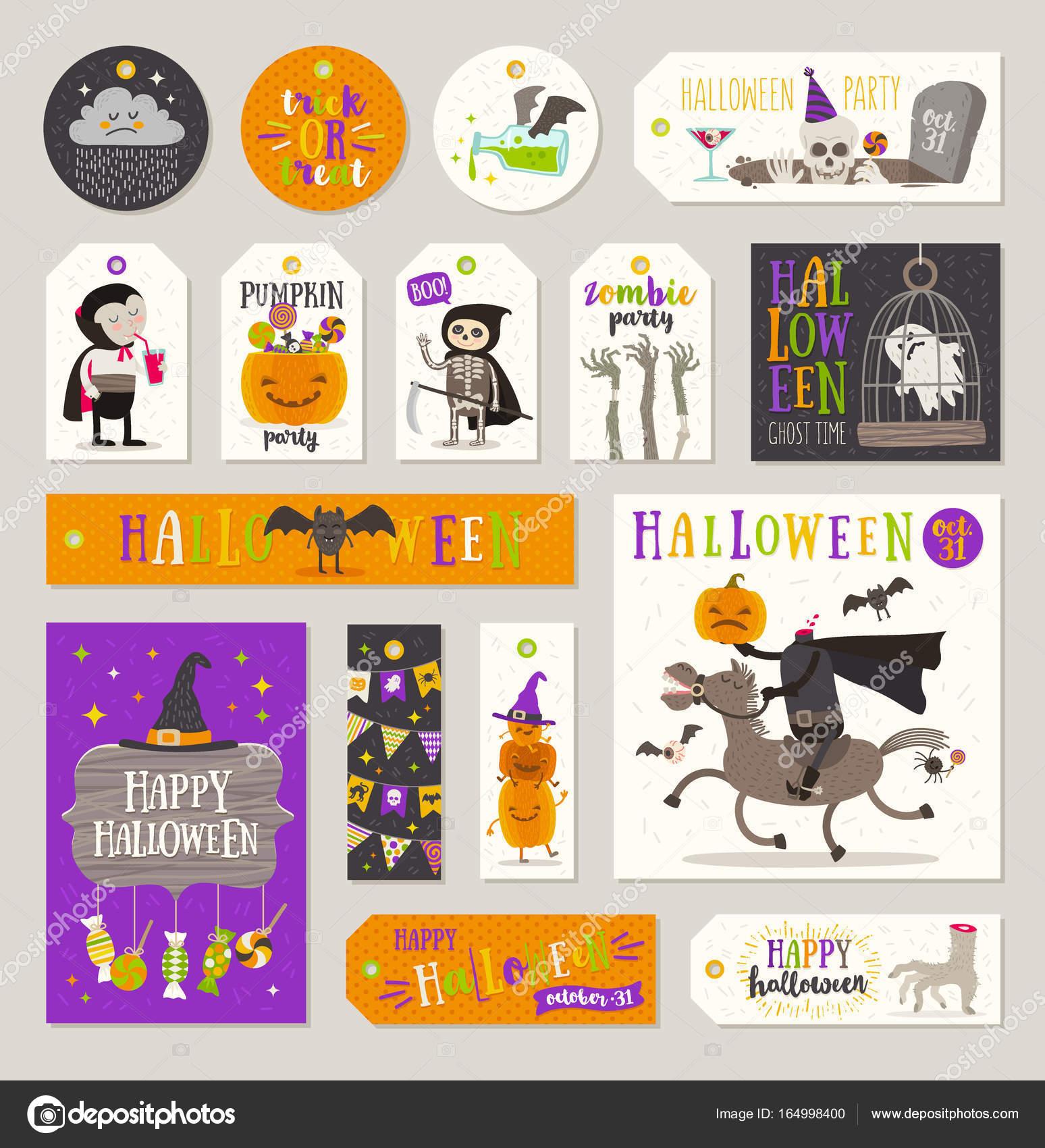 ensemble de cadeau halloween tags et étiquettes avec les personnages