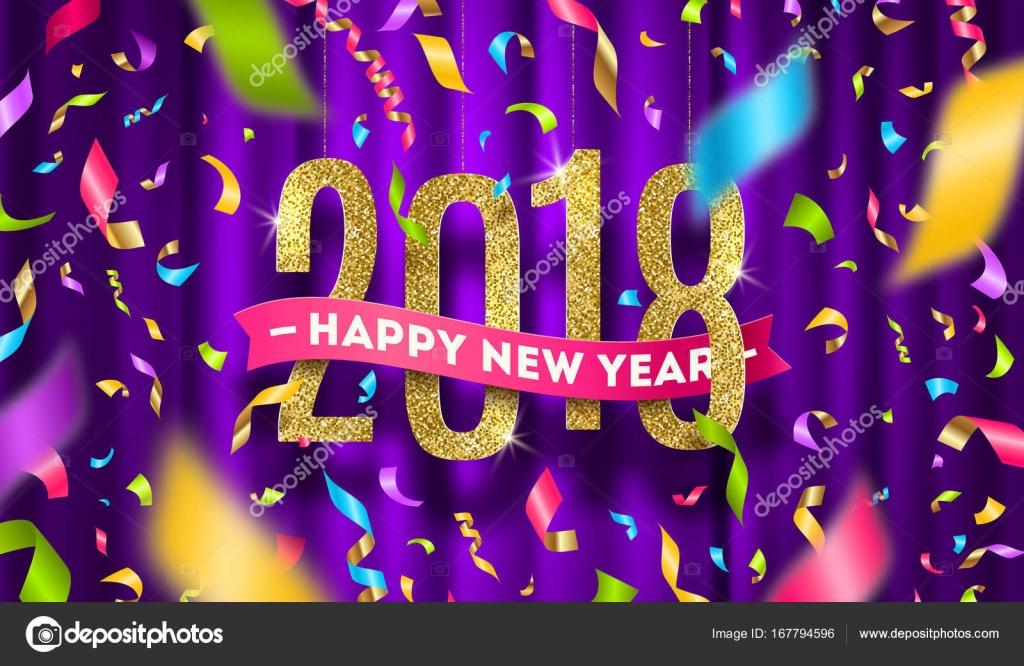 Happy New Year 2018 Gruß Vektor-Illustration. Glitter gold Zahlen ...