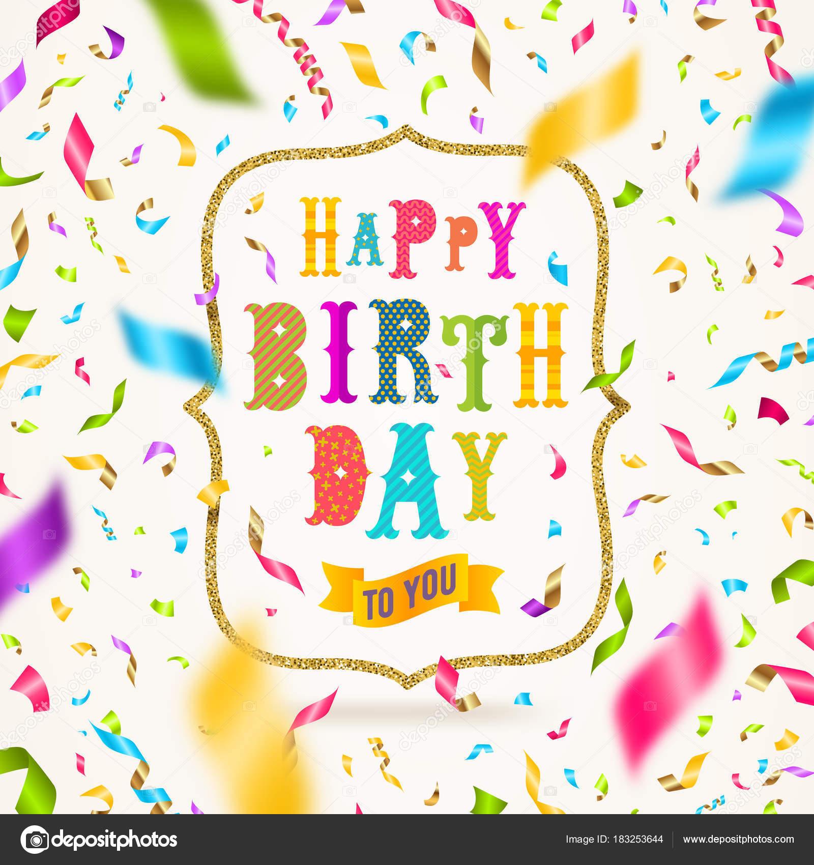 Saluto Di Buon Compleanno Con Glitter Oro Telaio E Coriandoli
