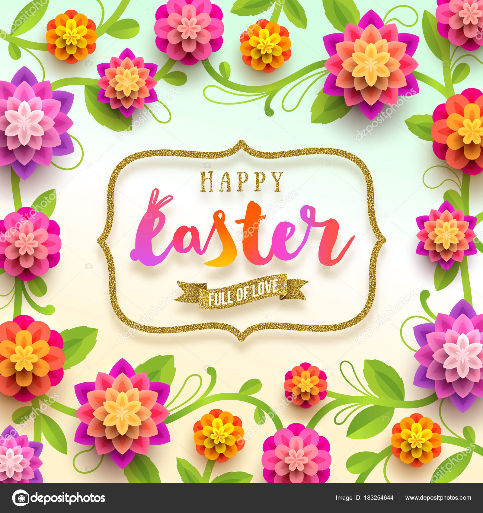 Easter Greeting Card Holiday Greeting In Glitter Gold Frame And