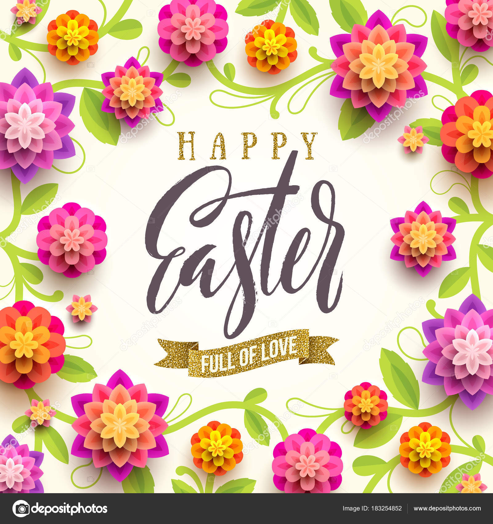 Easter greeting card easter brush calligraphy greeting with easter greeting card easter brush calligraphy greeting with glitter gold ribbon and paper flowers background m4hsunfo