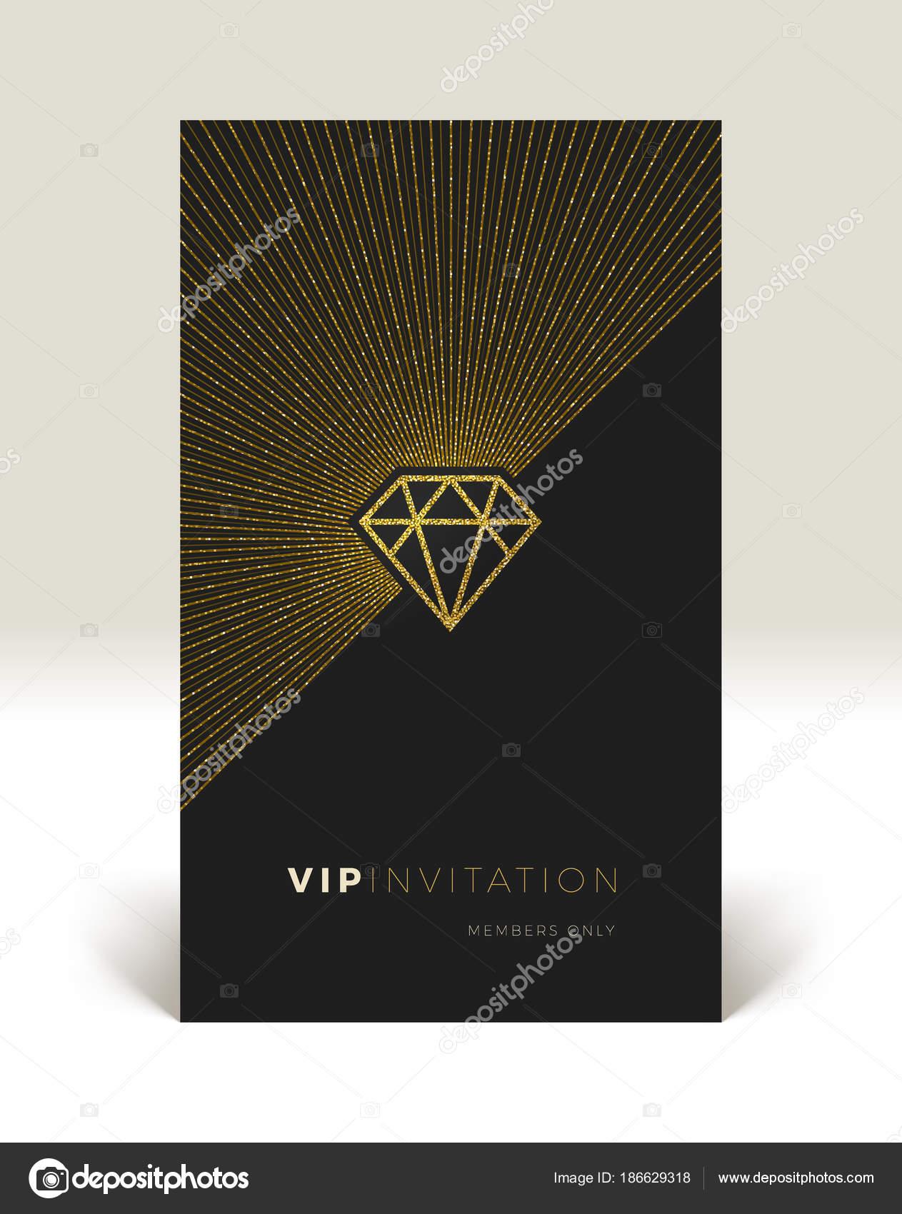 Template of vip invitation glitter gold shining diamond with template of vip invitation glitter gold shining diamond with sunburst on a black background vector illustration vector by s e r g o stopboris Images