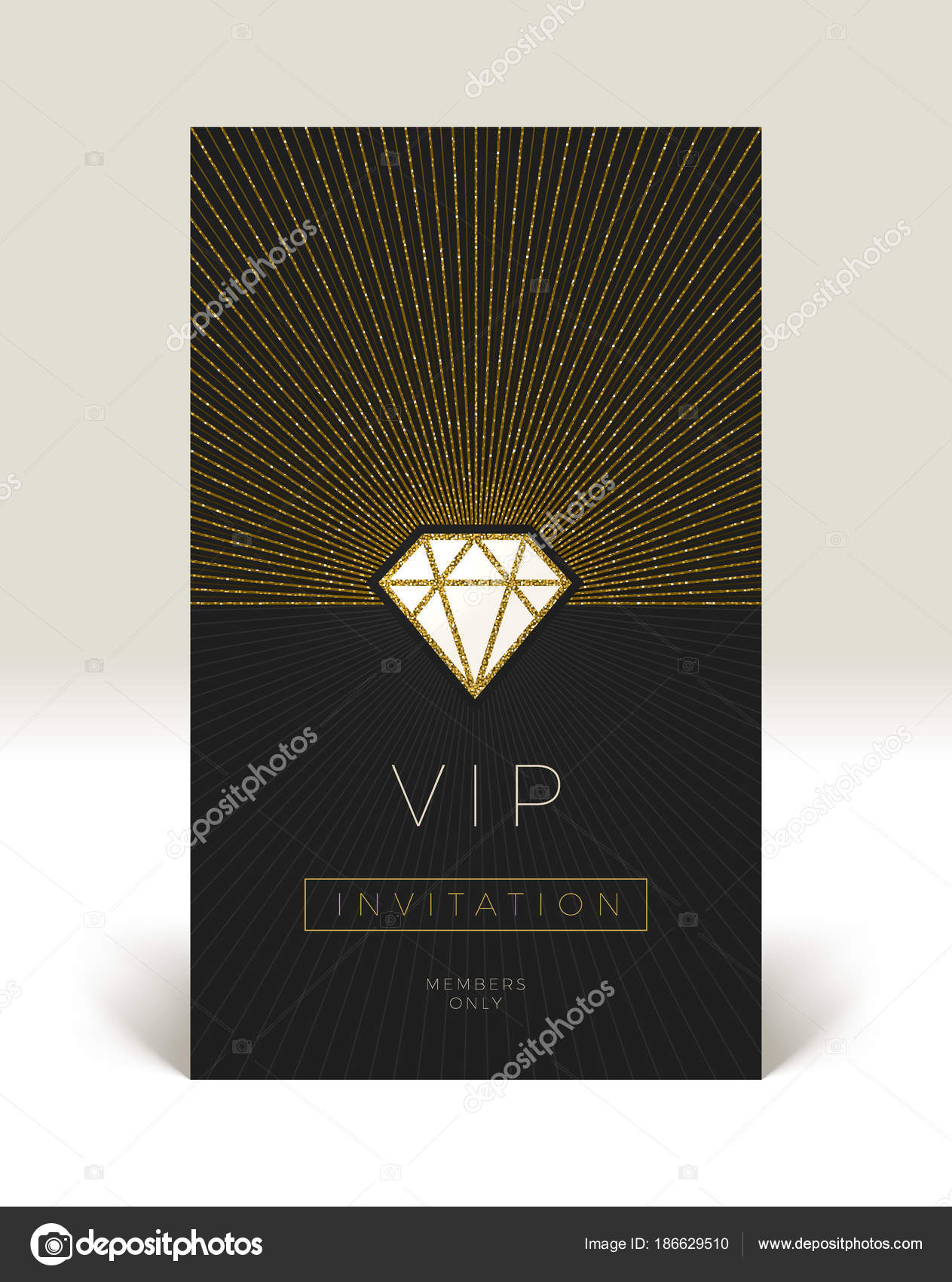 Template of vip invitation glitter gold shining diamond with template of vip invitation glitter gold shining diamond with sunburst on a black background vector illustration vector by s e r g o stopboris Image collections