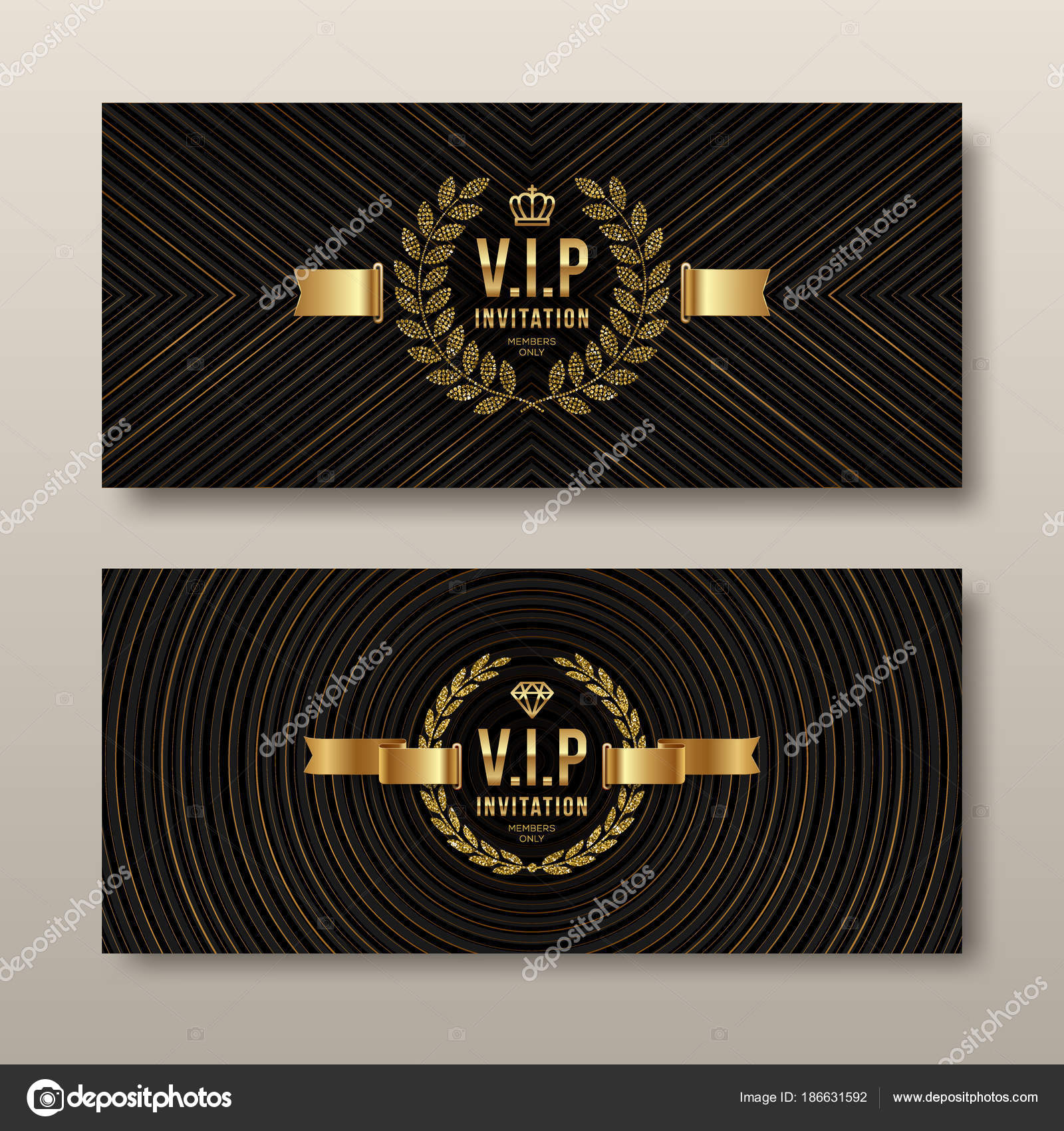 vip golden invitation template type design with crown laurel