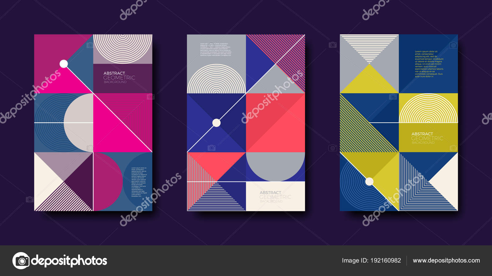 Set Of Cover Design With Simple Abstract Geometric Shapes Vector