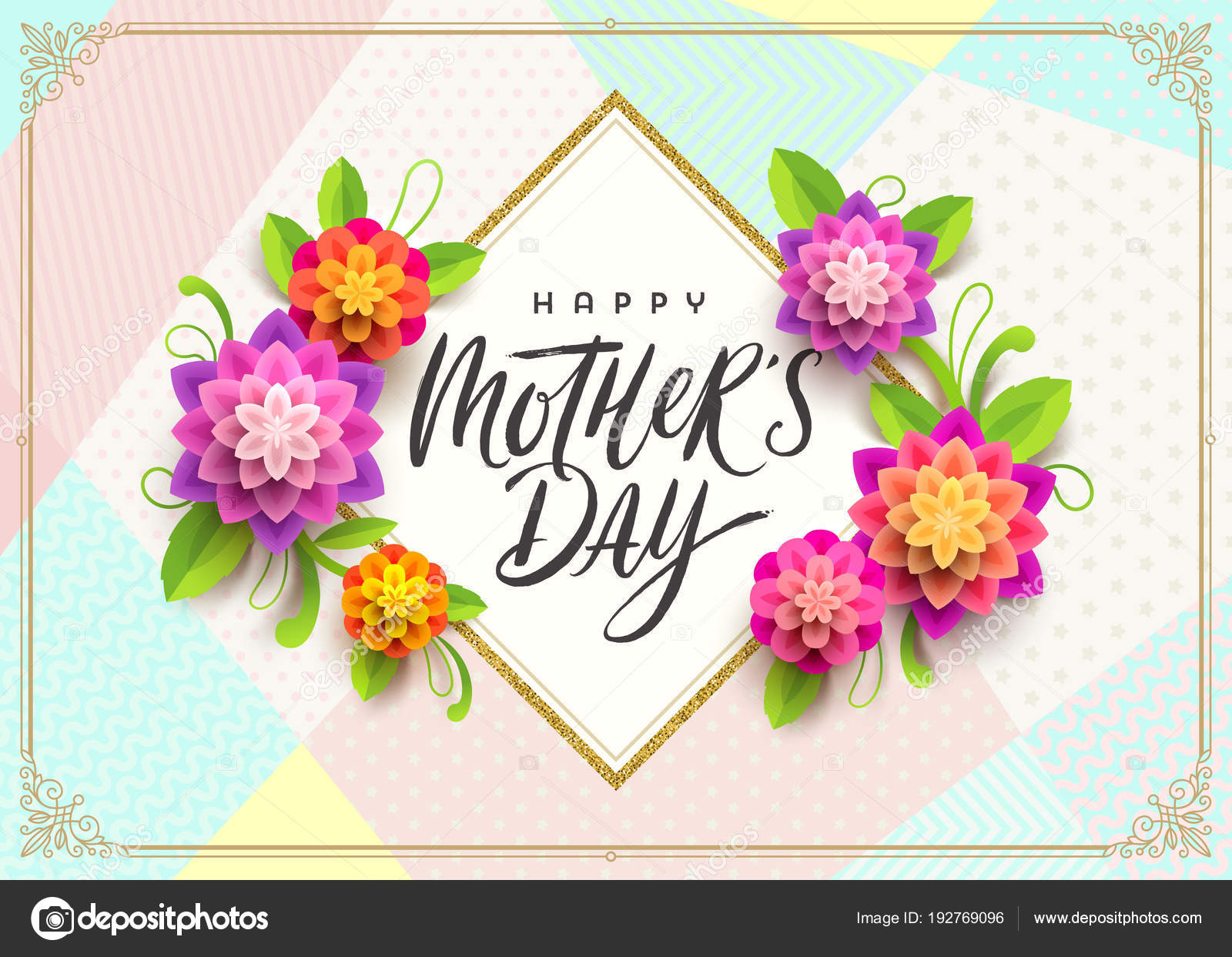 Happy Mothers Day Greeting Card Brush Calligraphy Greeting And