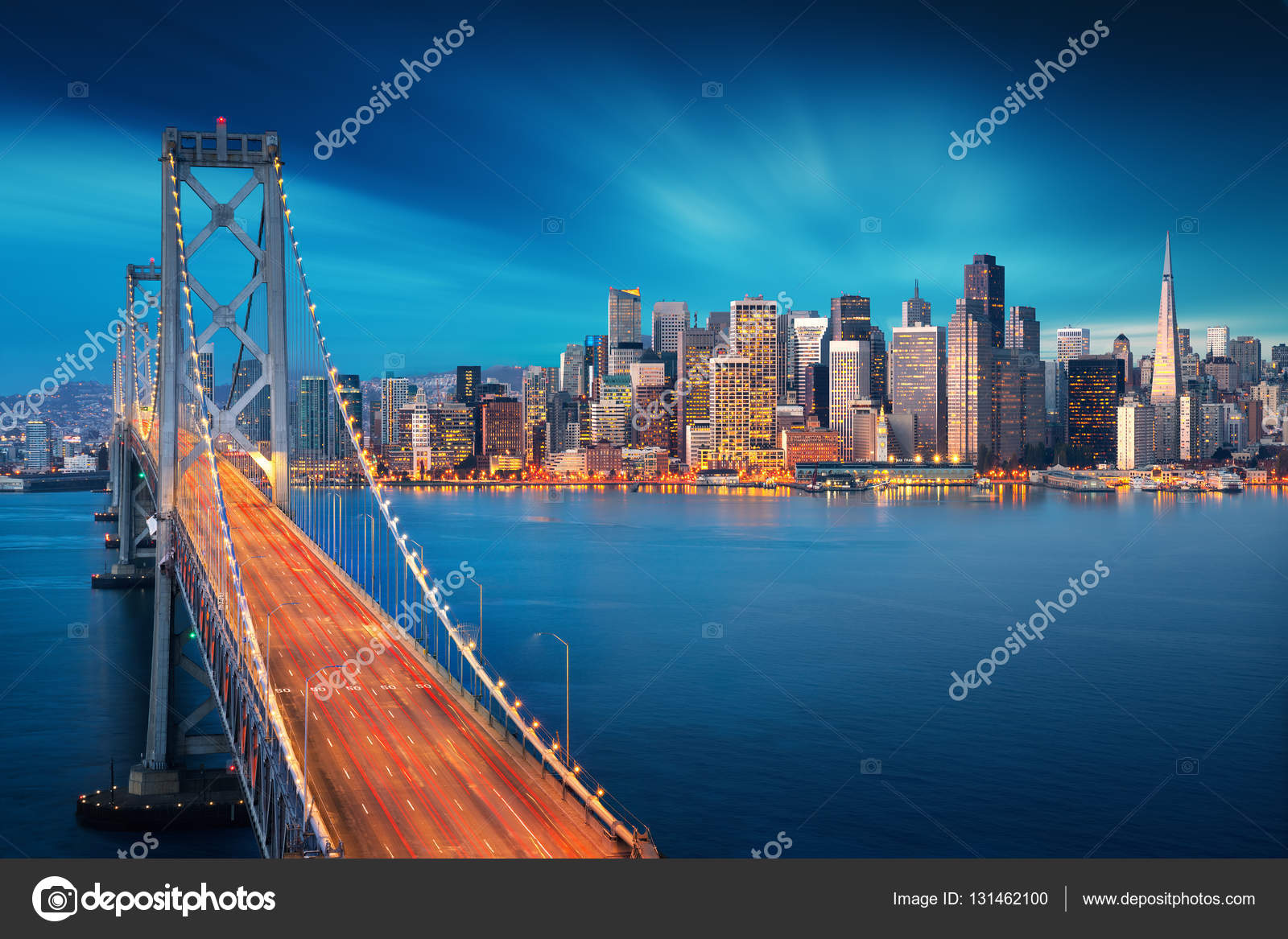 San Francisco at sunrise with Bay Bridge in foreground. Amazing ...