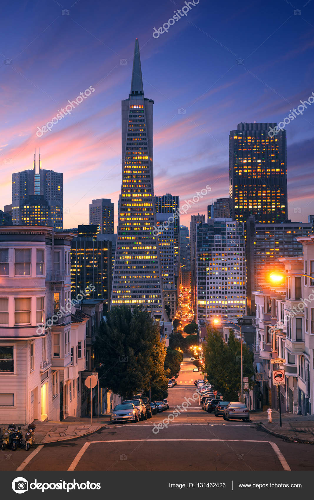 san francisco downtown at sunrise night famous typical buildings