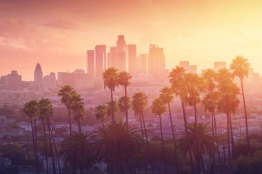 Los Angeles hot sunset view with palm tree and downtown in background. California, USA.