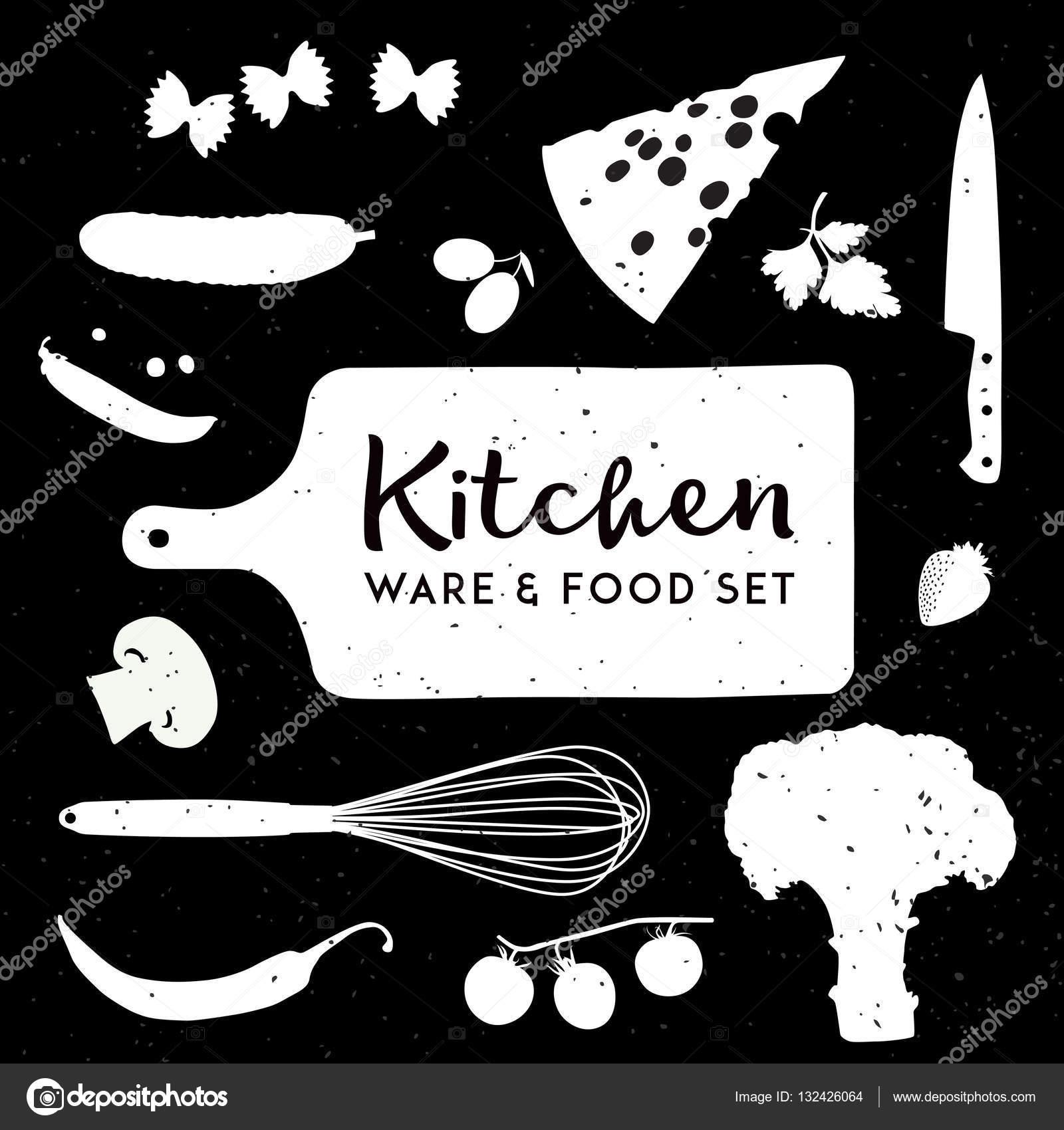 Küche Geschirr essen-Icon-Set — Stockvektor © sokolfly #132426064