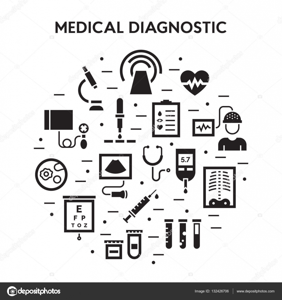 Medical diagnostic vector icon set stock vector sokolfly medicine flat signs clinical laboratory research pictogram symbols microbiology medicine science immune system analysis xray mri scan blood glucose biocorpaavc