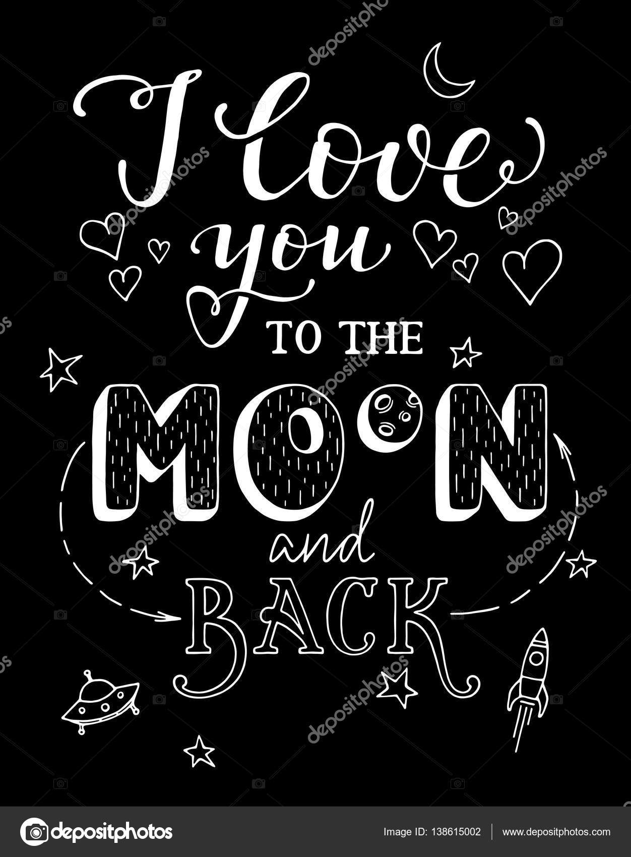 I Love You To The Moon And Back — Stock Vector © sokolfly