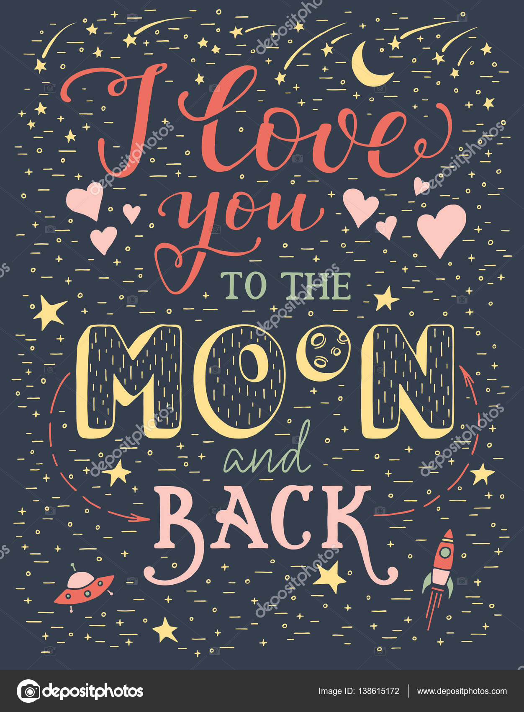 Bezaubernd Ich Liebe Dich Bis Zum Mond Beste Wahl Und Zurück — Stockvektor
