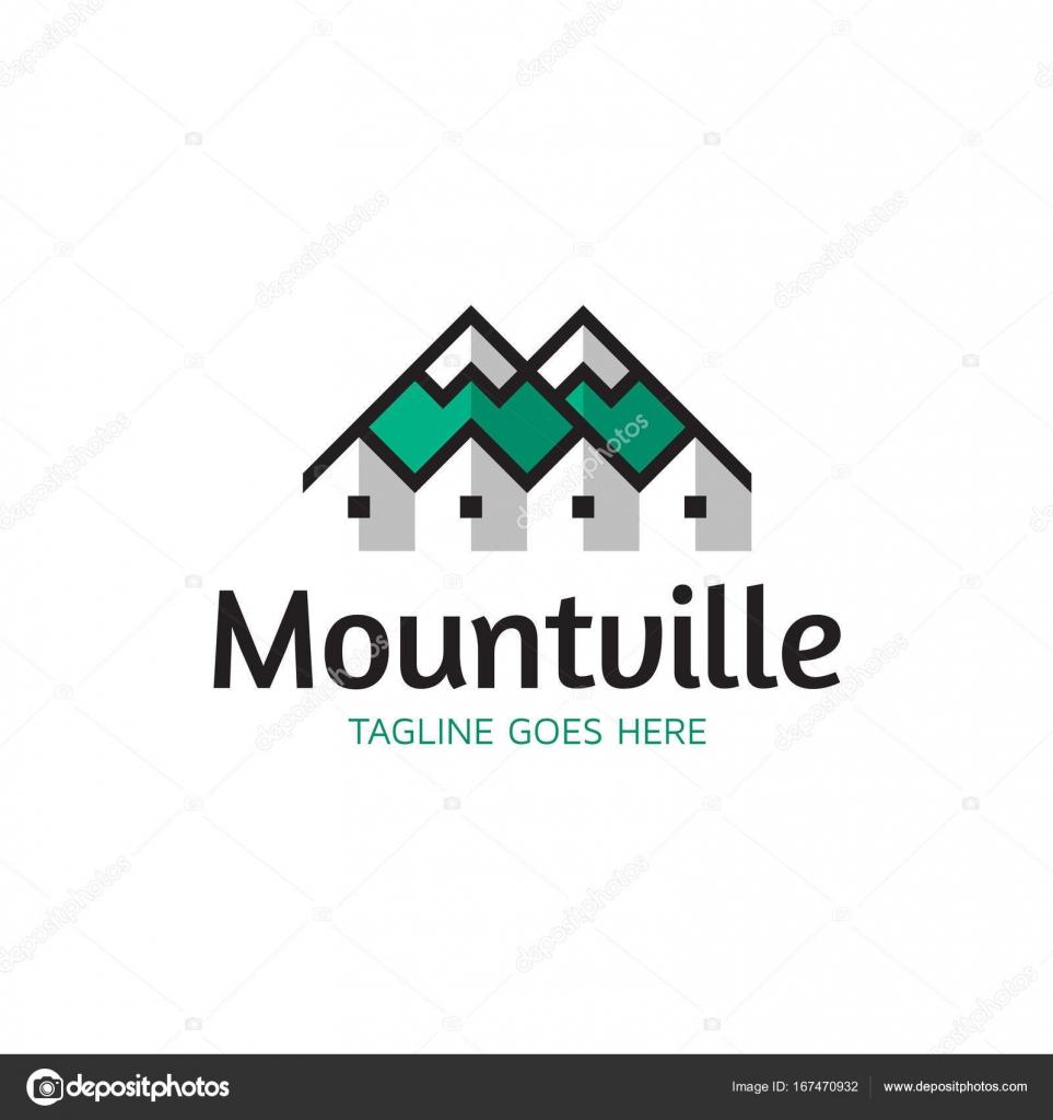Plantilla de Vector Logo de Monte pueblo — Archivo Imágenes ...