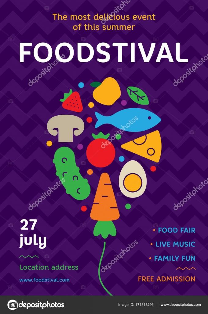 Food Festival Poster Design Template Graphic Balloon Symbol With Cake Hotdog For Banner Card Flyer Vector Street Fair Logotype Illustration Fresh