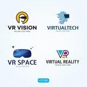 Virtuální realita Logo Vector šablony Set