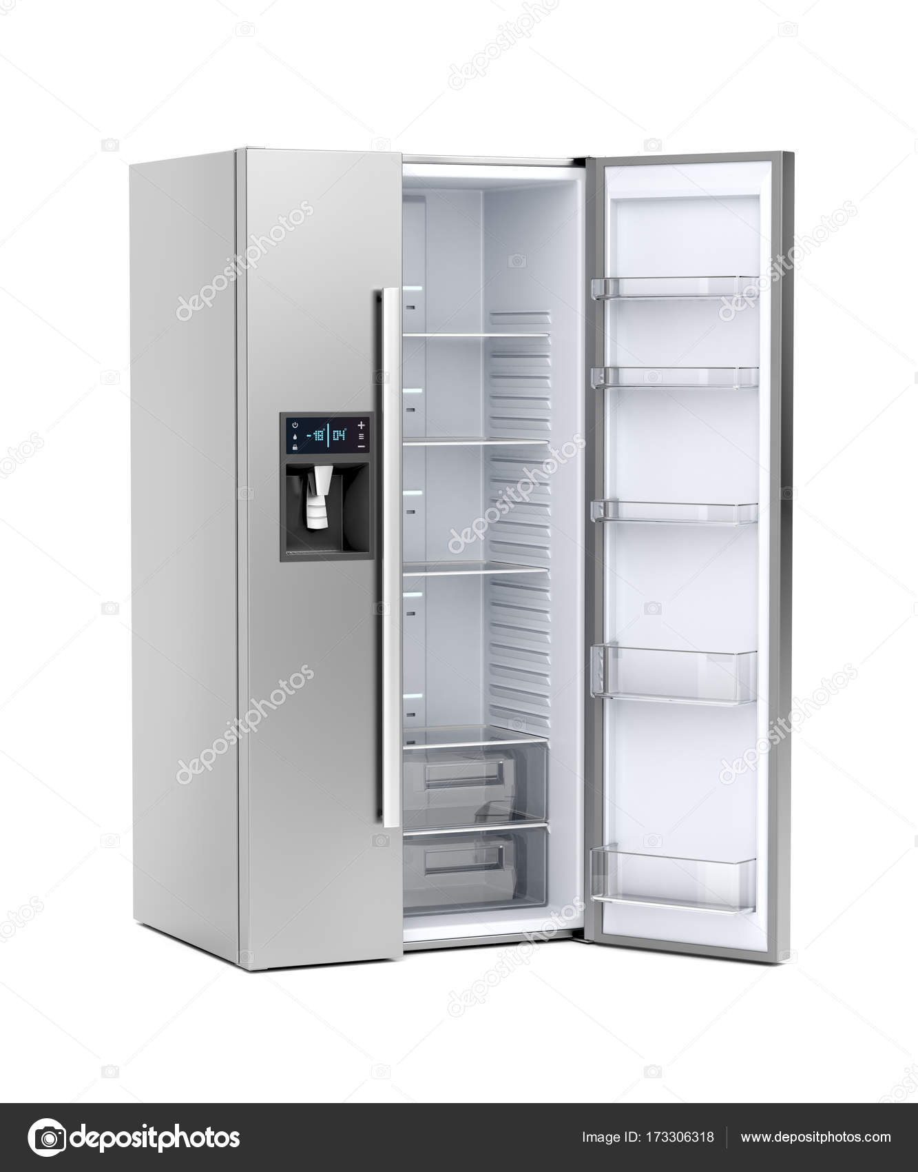 Grosser Kühlschrank mit geöffneter Türe — Stockfoto © magraphics ...