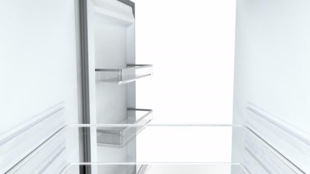 Otevírání a zavírání dveří prázdnou ledničku, pohled zevnitř