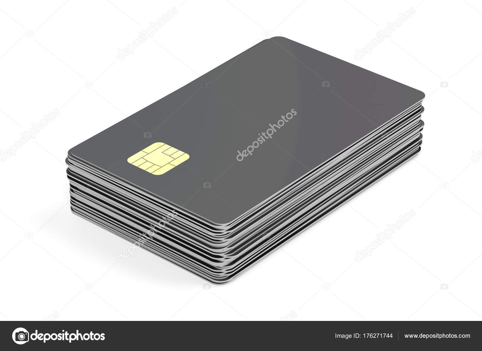 stack with blank plastic cards with chip stock photo - Blank Plastic Cards