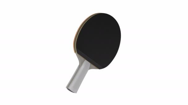 Stolní tenis raketa se točí na bílém pozadí