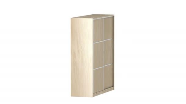 Empty wood wardrobe with sliding doors on white background