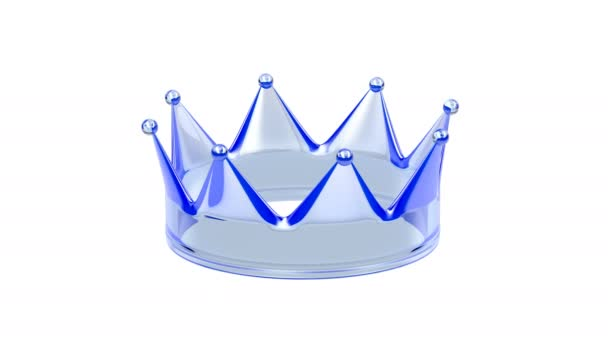 Blue crystal crown on white background
