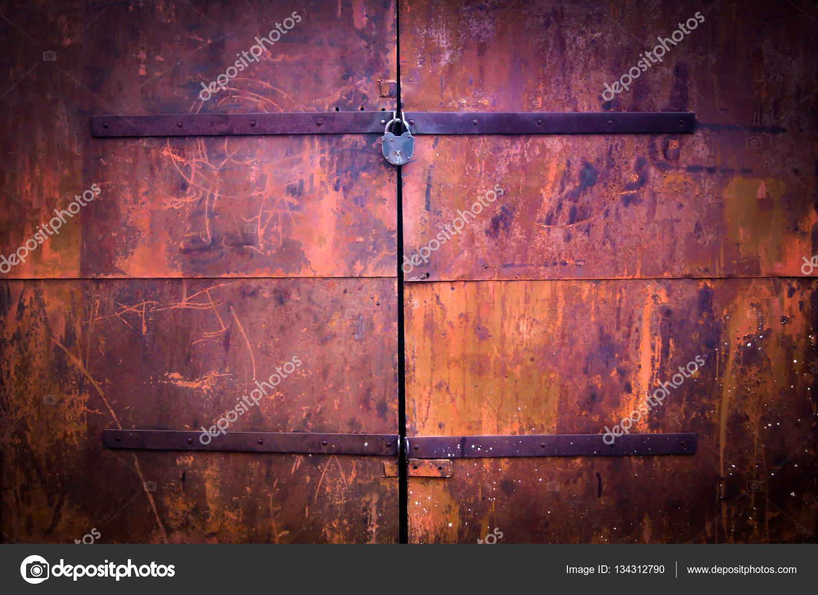 Rusty Steel Garage Door Strips Of Rusting As The Strokes Of Paint