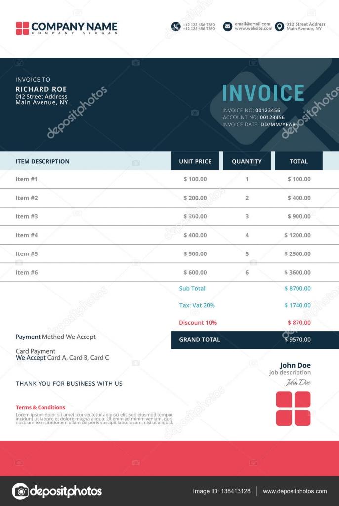 Elegante Vector plantilla de factura para diseño creativo — Archivo ...
