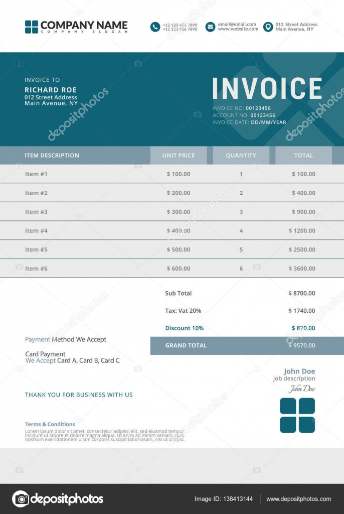 elegant vector invoice template for creative design stock vector