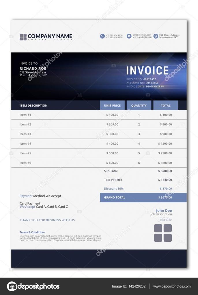 Elegant Vector Invoice Template For Creative Design Stock Vector