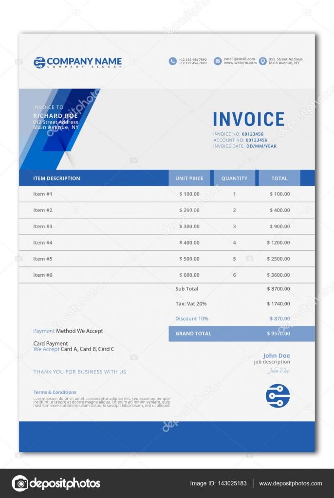 Elegant Vector Invoice Template For Creative Design Stock - Elegant invoice template
