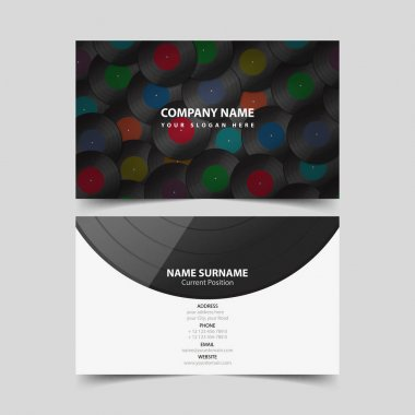 Vinyl Record Business Card Template.