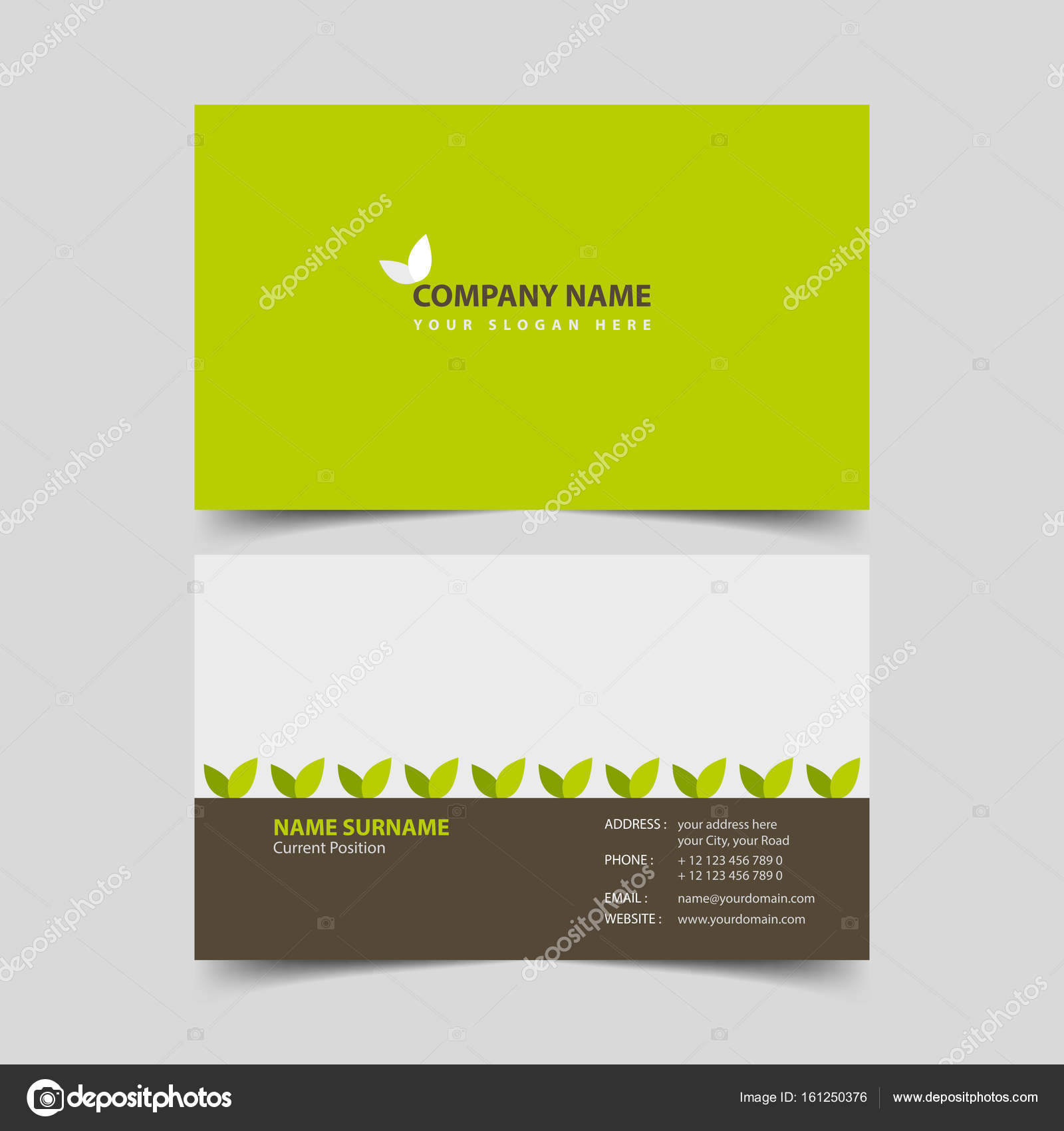Eco friendly business card design template. — Stock Vector ...