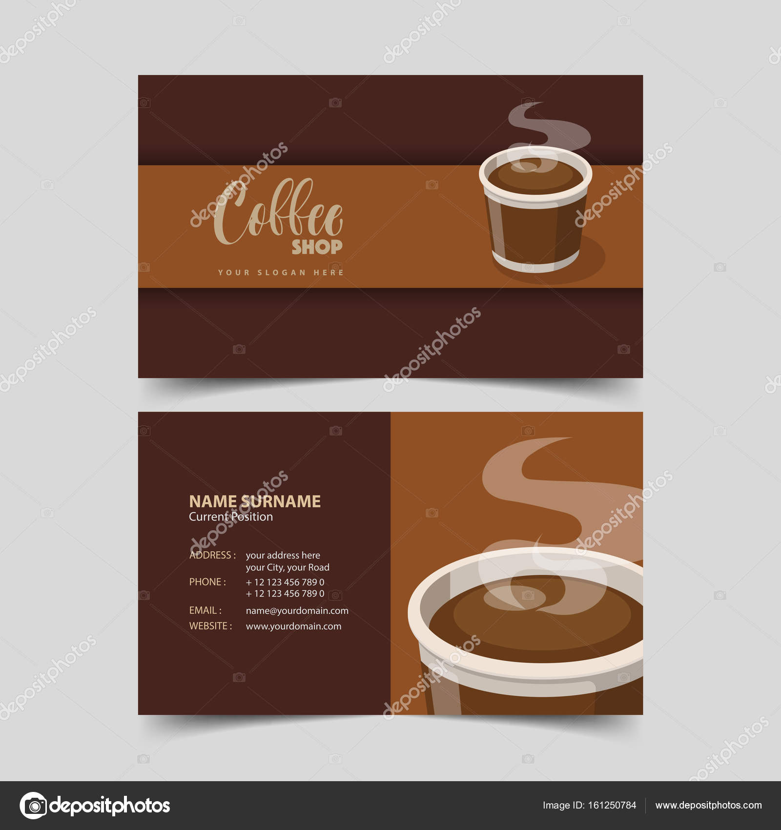 Coffee shop business card design template. — Stock Vector ...