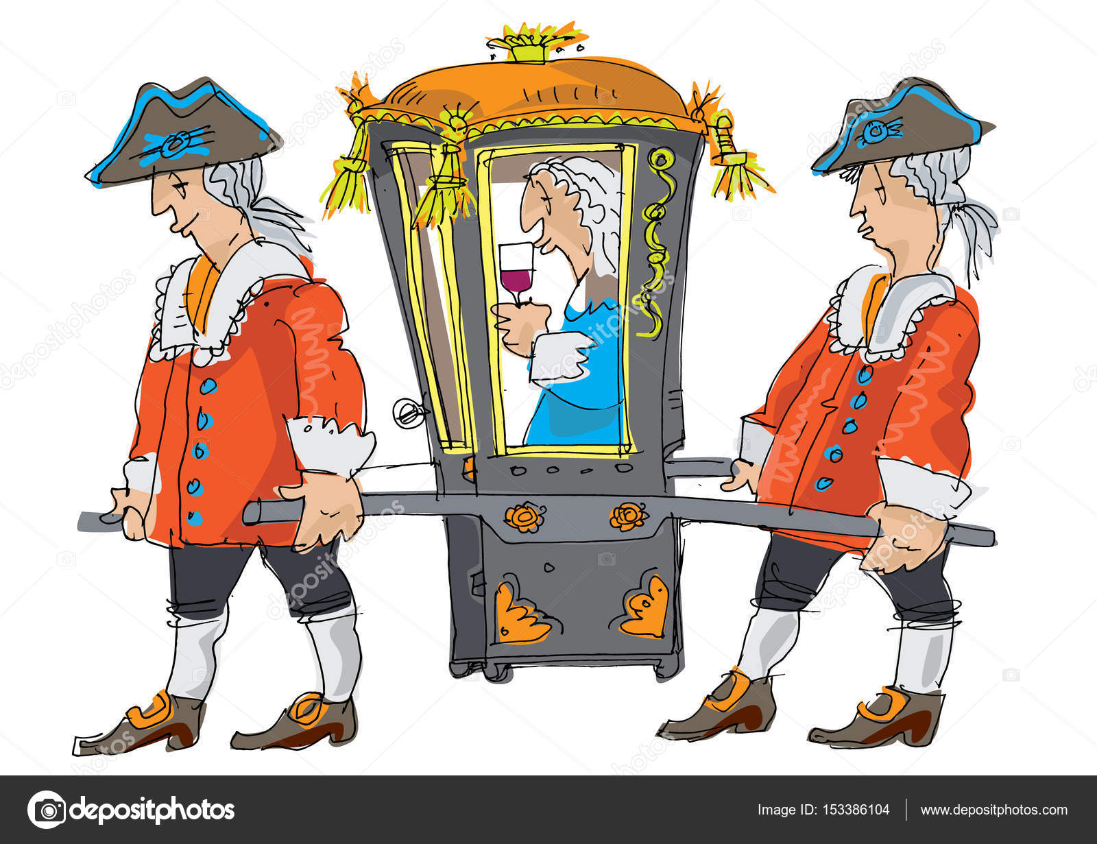 Two Porters Bring Covered Sedan Chair Important Person Caricature Cartoon Vector Image By C Iralu1 Vector Stock 153386104
