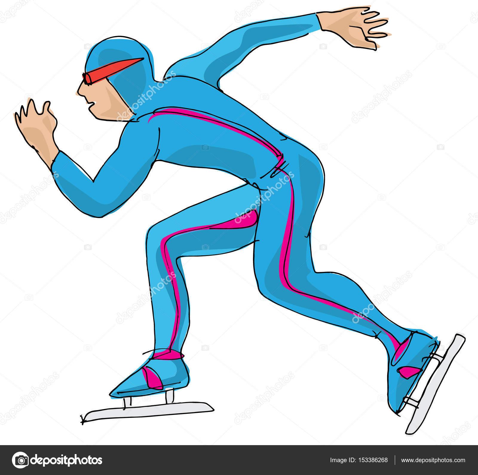Schaatsen Schaatsen Sprintrace Zet Cartoon Stockvector C Iralu1 153386268