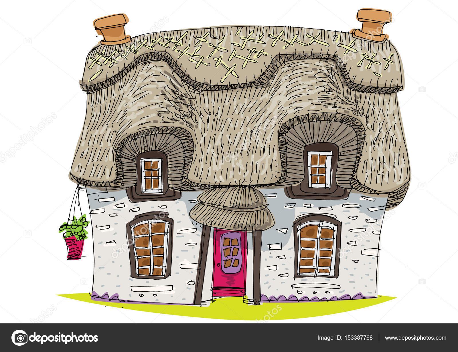 Couvert de paille maison vintage traditionnelle dessin animé vecteur par
