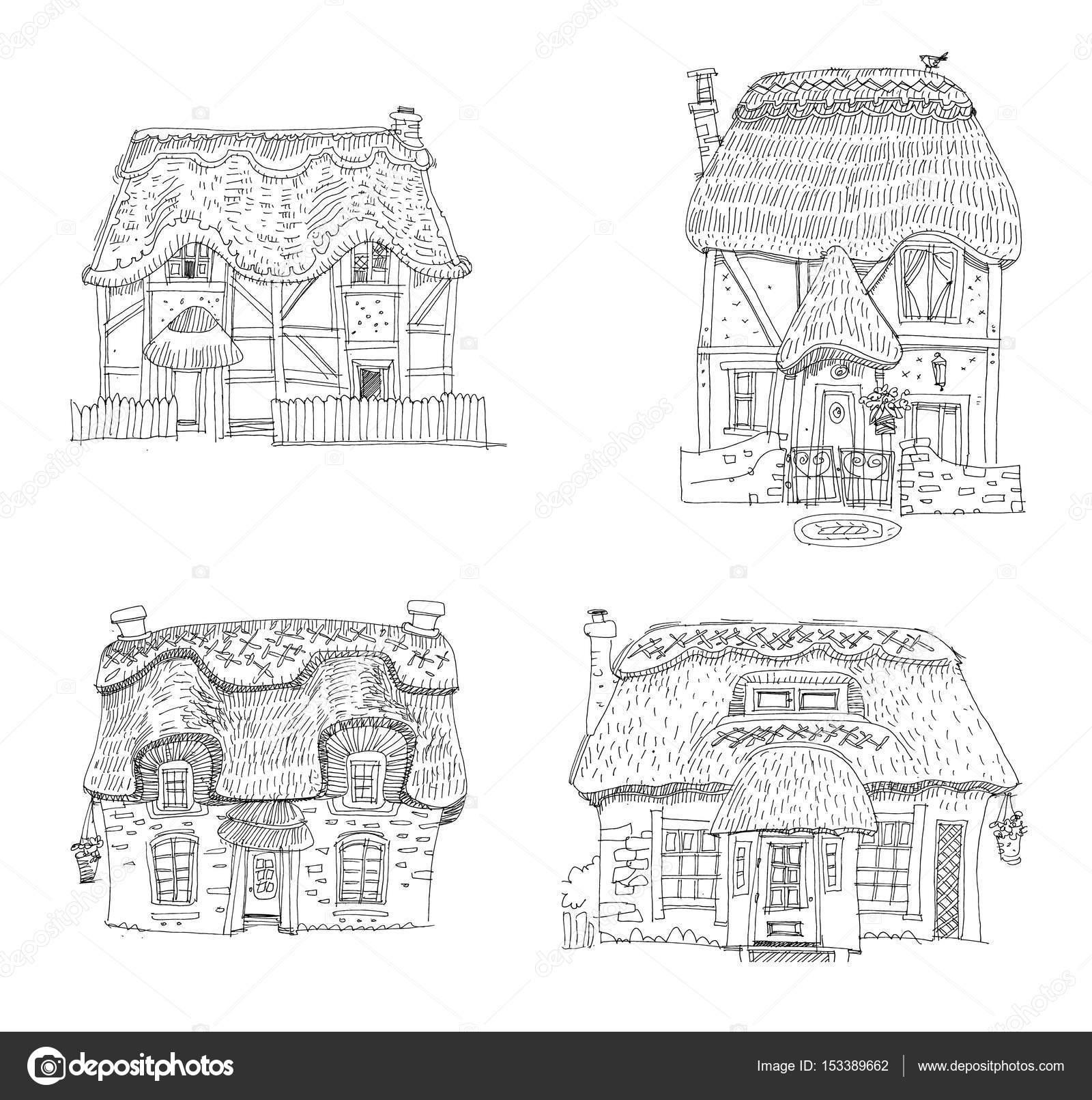 Couvert de paille traditionnelle maison vintage dessin animé coloriages vecteur par