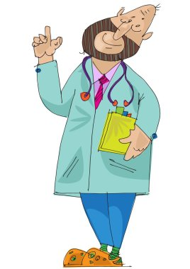 A physician holds notebook. Caricature. Cartoon