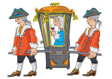 Two porters bring covered sedan chair with important person inside. Caricature. Cartoon.