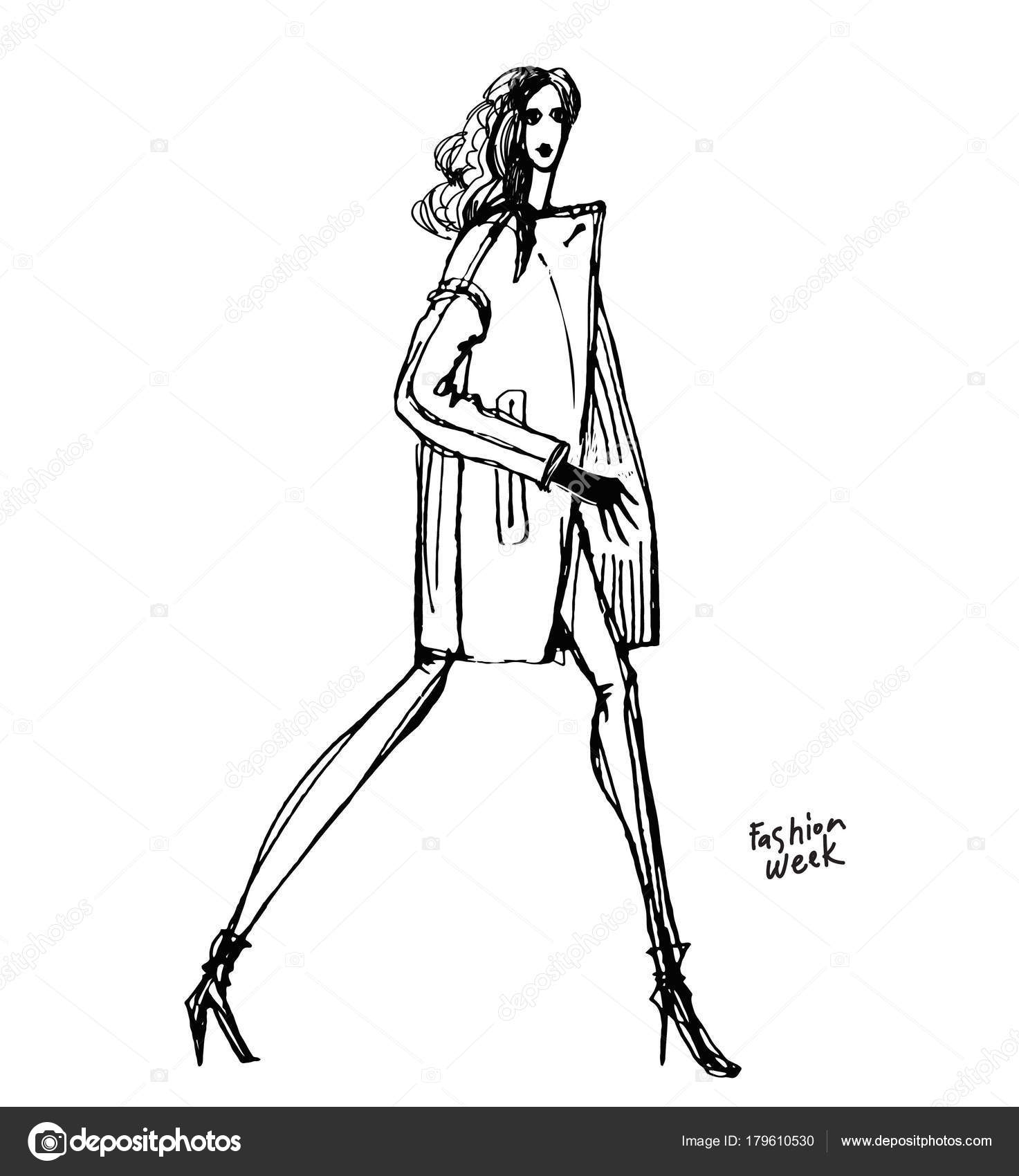 17bd78875a9dfe Mode Sketchbook Mode Ontwerp Ontwikkeling Zwart Wit Schets Van Kleding —  Stockvector