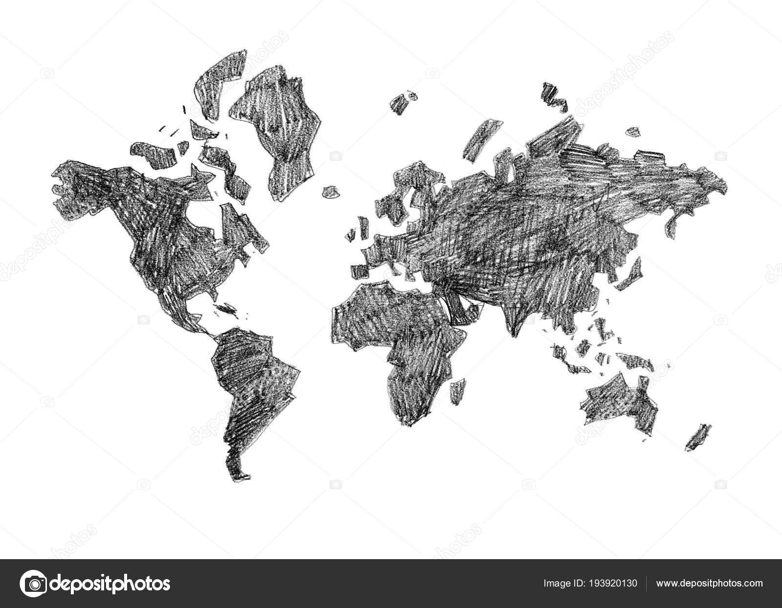Hand drawn black white poster world map different purposes nice hand drawn black white poster world map different purposes nice stock photo gumiabroncs Gallery