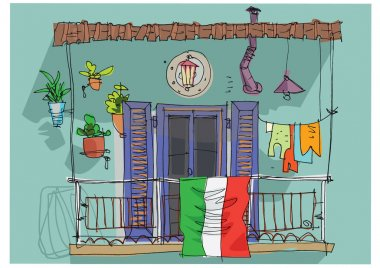 Italian flag on traditional mediterranean balcony as symbol of struggling with coronavirus pandemic. Cartoon. Sketch.