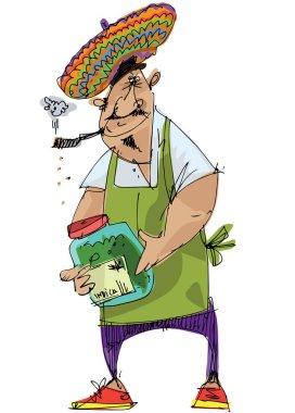 A cannabis vendor rasta man in yamayka style beret holds marijuana leaf and big bottle full of weeds. Caricature. Cartoon.