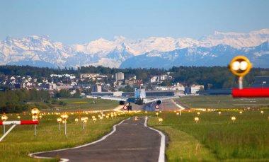 Zurich, Switzerland - JULY 18, 2015: Edelweiss A-320 landing in Zurich airport.