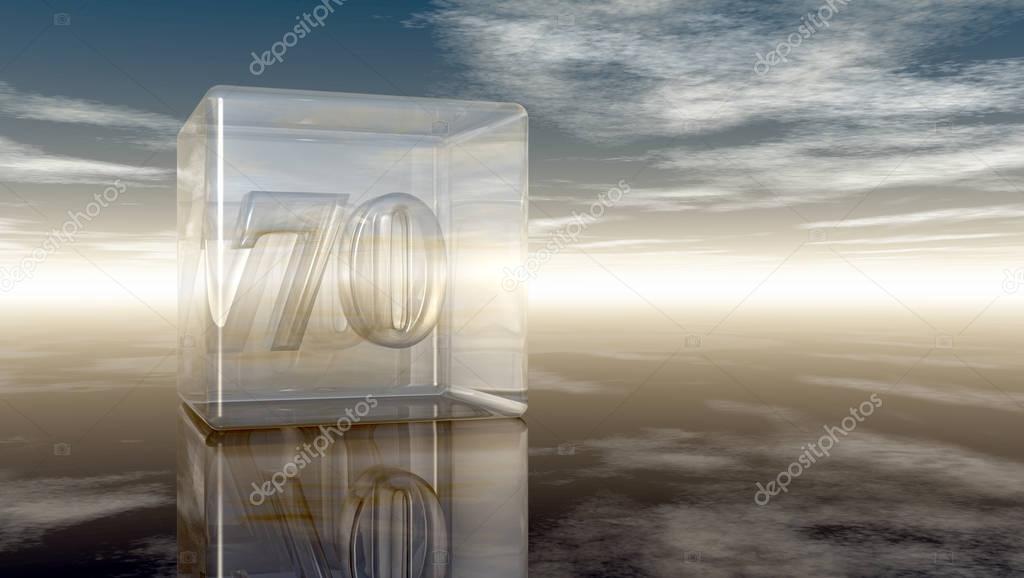 3d Glazen Kubus.Nummer 70 In Glazen Kubus Onder Bewolkte Hemel 3d Rendering