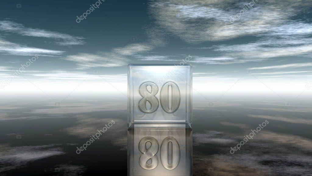 3d Glazen Kubus.Nummer 80 In Glazen Kubus Onder Bewolkte Hemel 3d Rendering