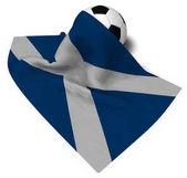 fotbalový míč a vlajka scotland - 3d vykreslování