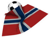 soccer ball and flag of norway - 3d rendering