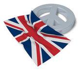 symbol míru a vlajka Velké Británie - 3d vykreslování